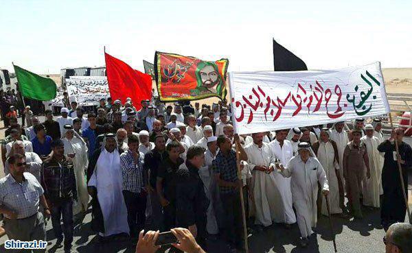 تصویر تجمع شیعیان عراق در نزدیکی مرز عربستان در روز جهانی بقیع