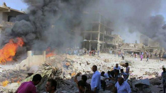 تصویر وقوع دو انفجار تروريستى در شهر قامشلی سوریه