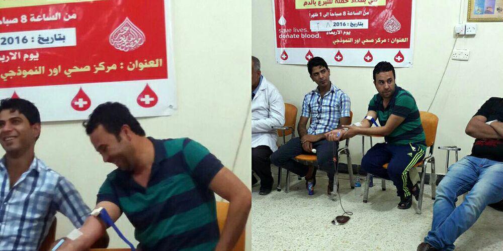 تصویر جنبش اهدای خون به مجروحان نیروهای رزمنده مردمی «حشد الشعبی» در شهر بغداد