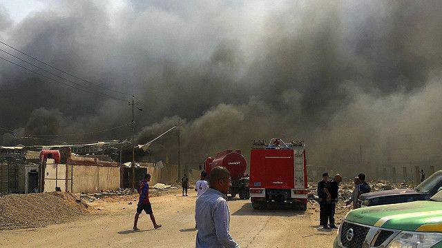 تصویر انفجار انبار مهمات در پايتخت عراق
