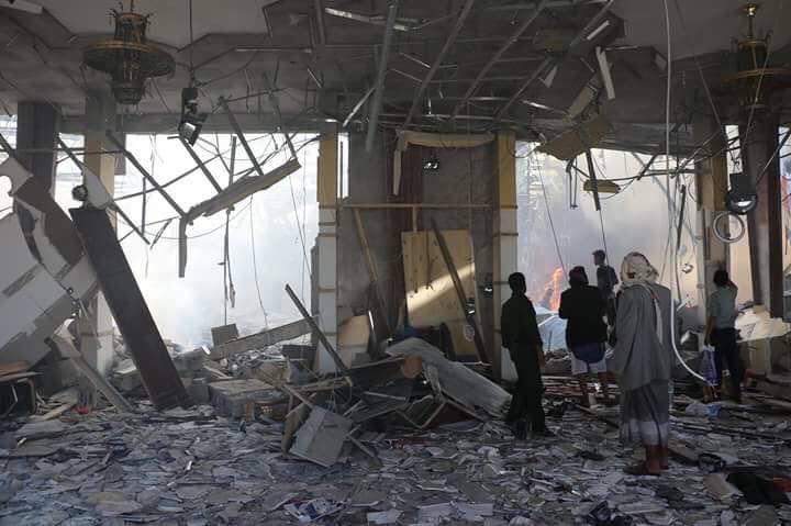 تصویر حمله جنگنده هاى عربستان سعودى به مجلس عزادارى در يمن