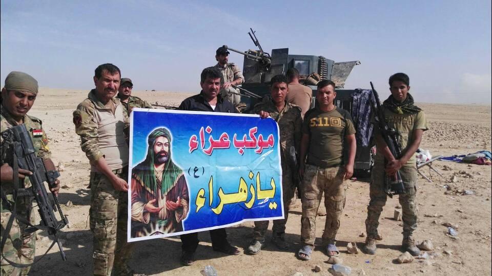 تصویر ویدیو- برپایی تکیه ارتش و نیروهای مردمی عراق در اطراف موصل