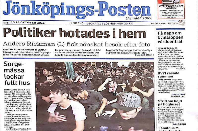 تصویر معرفی عزاداری شیعیان در روزنامه سوئدی