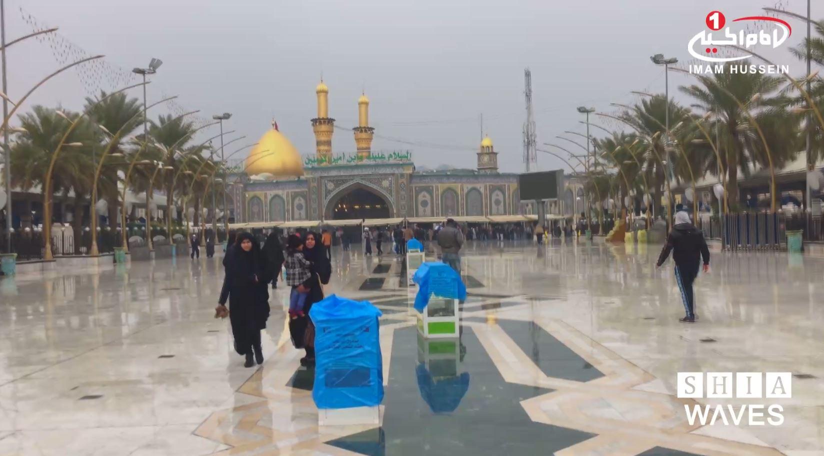 تصویر بارش باران شهر مقدس كربلا – بین الحرمین شريف  شنبه ٤ دى ماه ١٣٩٥