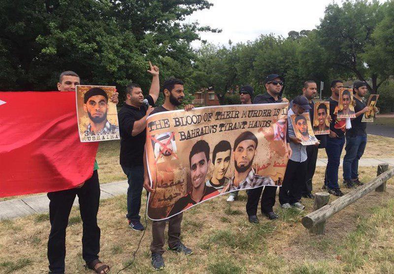 تصویر تجمع بحرینیها مقابل سفارتخانههای عربستان و امارات در استرالیا
