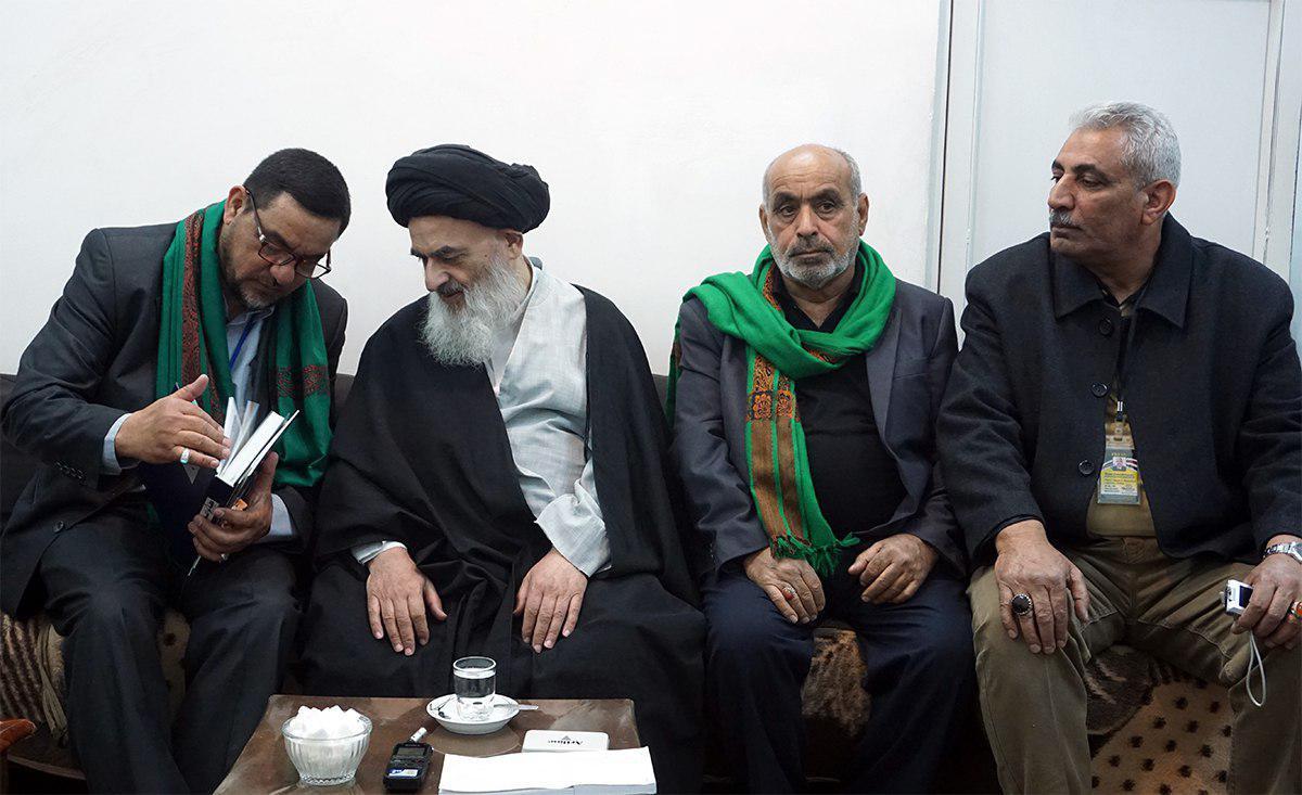 تصویر دیدار تنی چند از اصحاب رسانه عراق با مرجعیت شیعه آيت الله العظمى شيرازى مدظله
