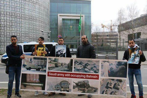 تصویر تجمع اعتراض آمیز بحرینی ها در آلمان