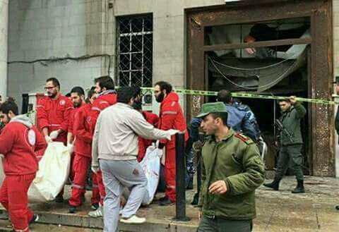 تصویر حمله انتحاری به کاخ دادگستری دمشق