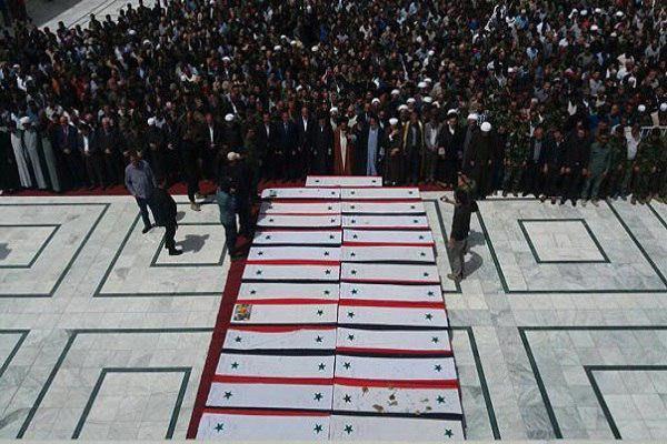 تصویر تشییع تعدادی از شهدای فوعه و کفریا در شهر دمشق