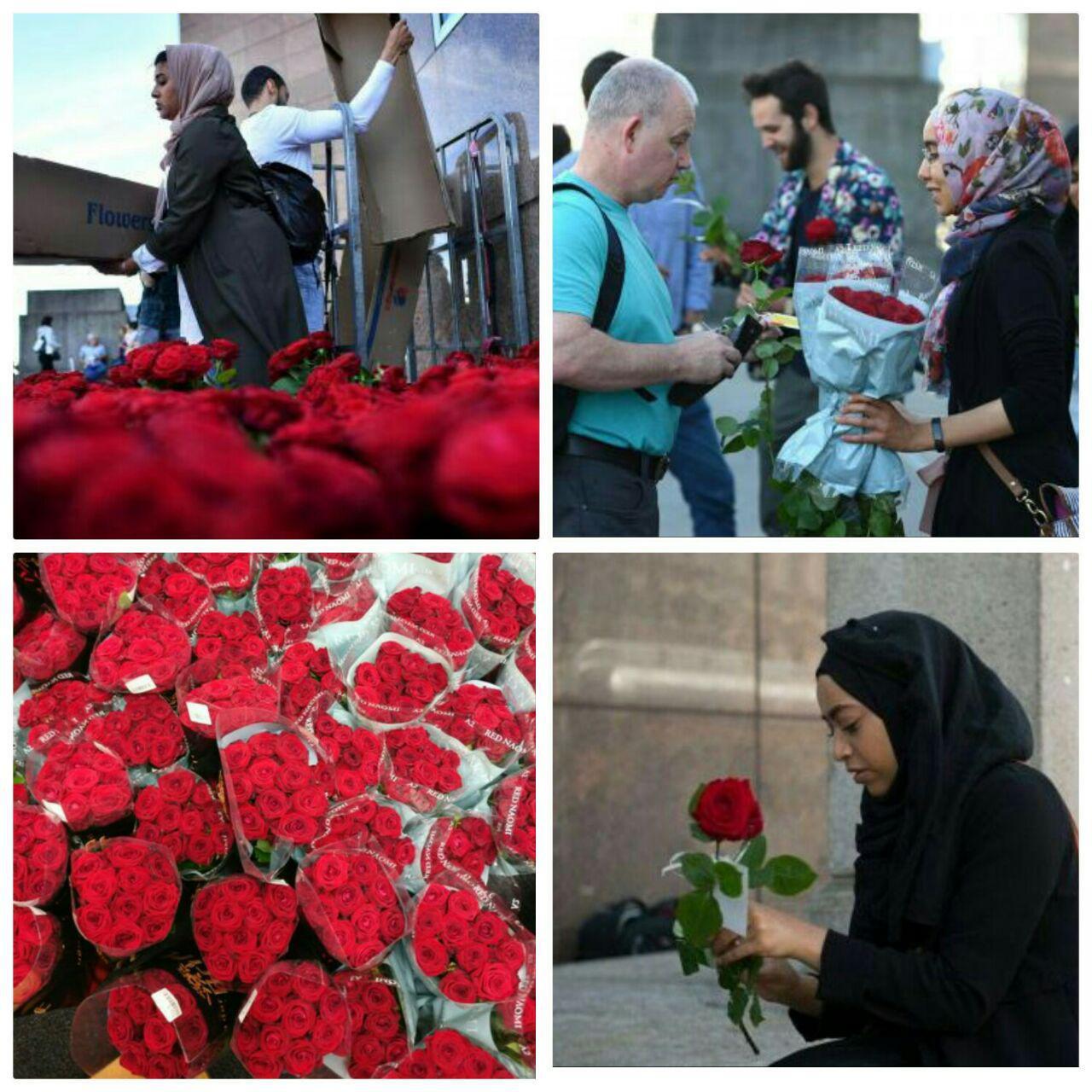 تصویر توزیع ۳ هزار شاخه گل توسط مسلمانان در لندن