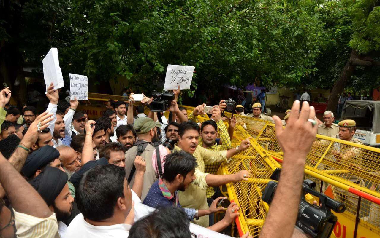 تصویر تظاهرات مسلمانان هند در سالروز تخریب قبور ائمه بقیع