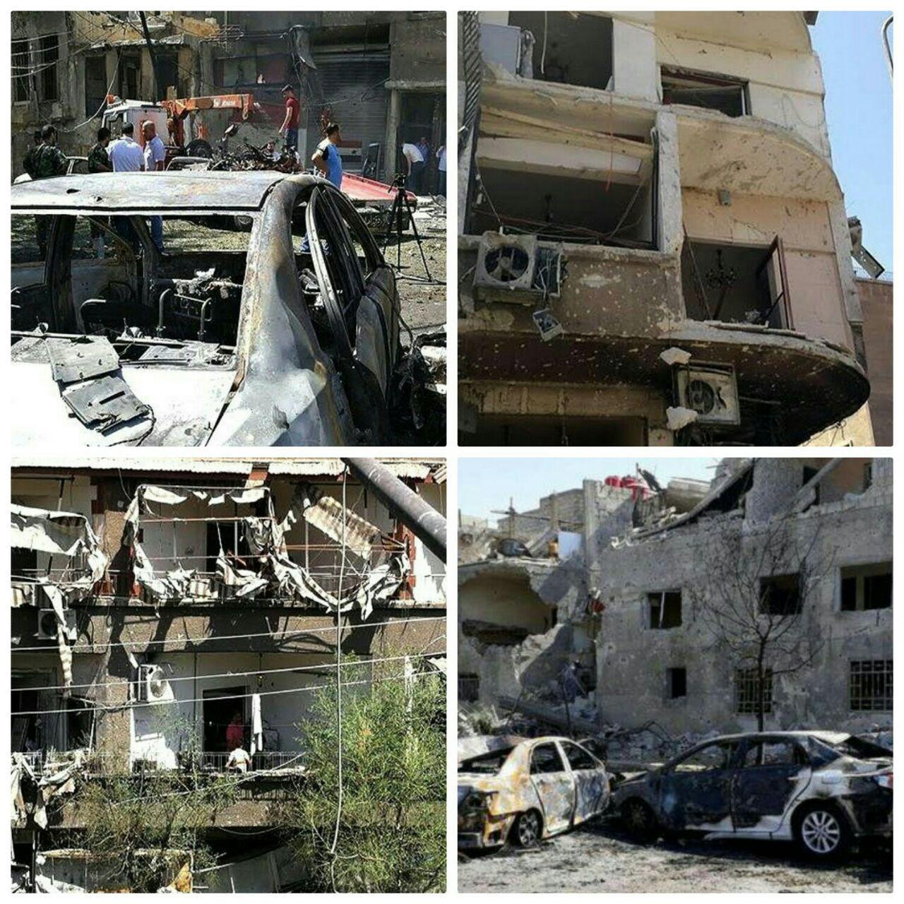 تصویر انفجار سه خودروی بمب گذاری شده در دمشق