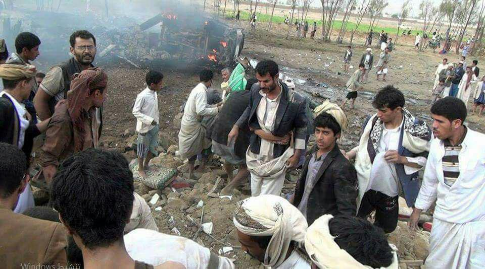 تصویر حمله عربستان سعودی به غیر نظامیان یمنی