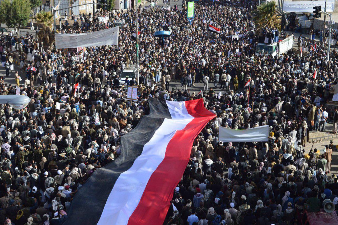 تصویر راهپیمایی مردم یمن علیه تجاوز ائتلاف به رهبرى عربستان