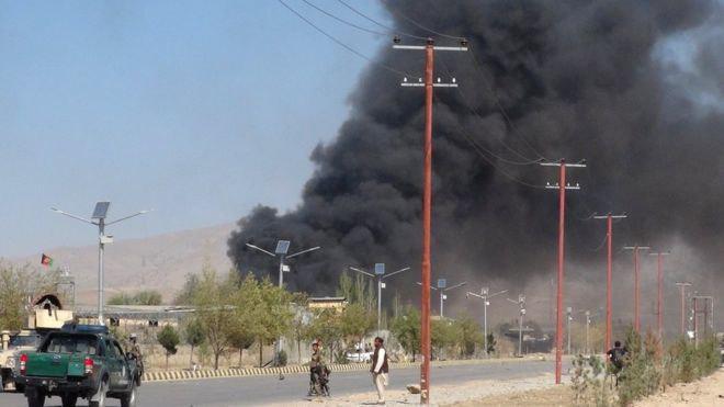 تصویر حمله طالبان به ساختمان پلیس «پکتیا» در شرق افغانستان
