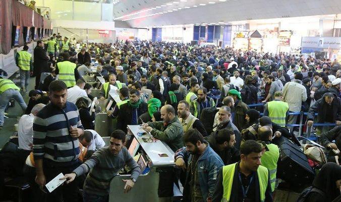 تصویر ازدحام در فرودگاه نجف به خاطر اخذ عوارض ورود