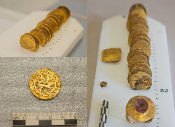 تصویر دینارهای طلای اسلامی در فرانسه کشف شد