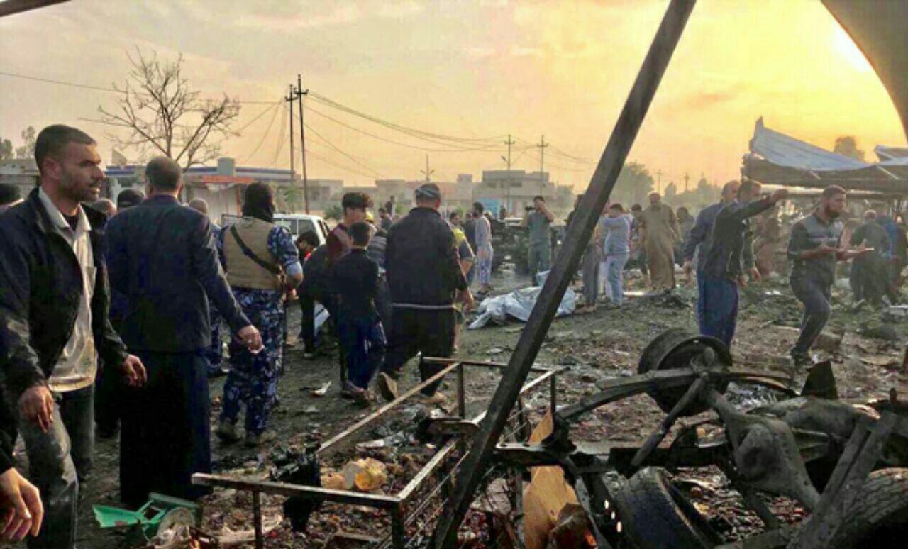 تصویر انفجار در شهر شیعه نشین طوزخورماتو در جنوب کرکوک عراق