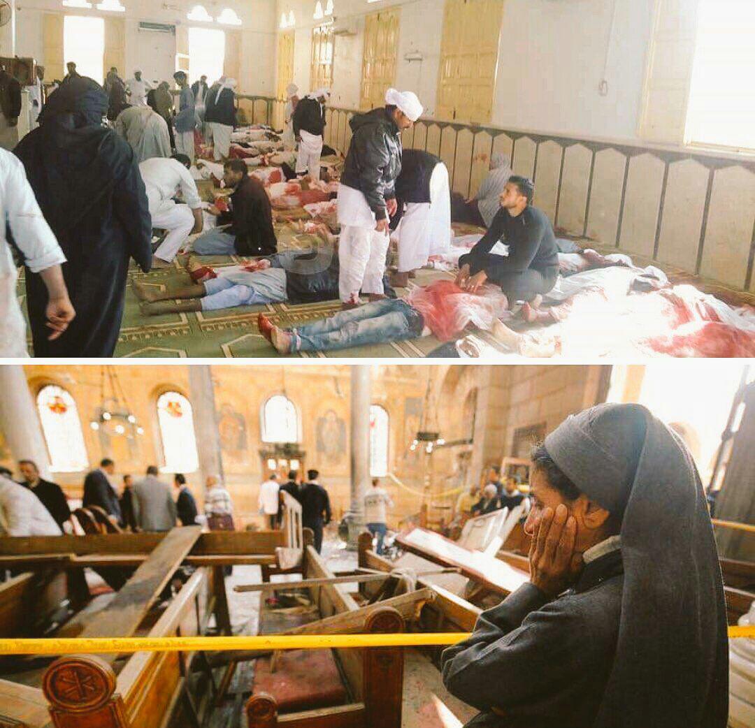 تصویر حمله تروریستی مرگبار به مسجدی در شمال سینا