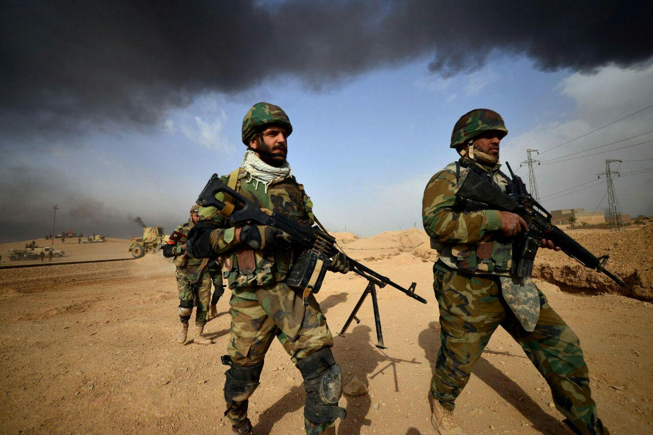 تصویر انهدام پایگاه آموزش نظامی داعش در شمال بغداد