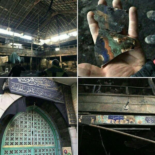 تصویر     تکیه ای در تهران توسط عناصر خرابکار آتش زده شد
