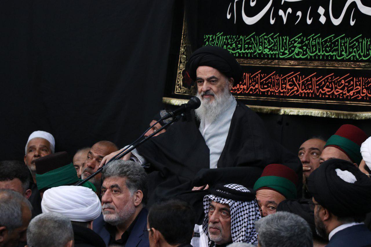تصویر سخنان مرجعیت شیعه در جمع مسئولان مواکب و هیئات حسینی کربلا