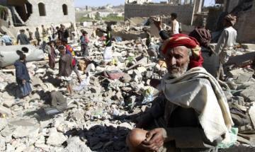 تصویر بمباران مناطق مسکونی استان حدیده یمن