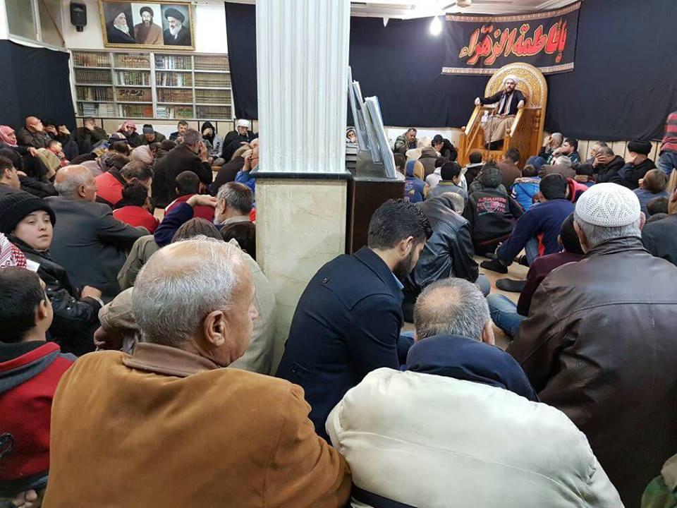 تصویر جهان تشیع در عزای فاطمی …عزاداری شیعیان در دفتر آیت الله العظمی شیرازی  دمشق – سوریه