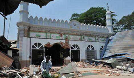 تصویر تخریب مسجدی در میانمار پس از بازسازی