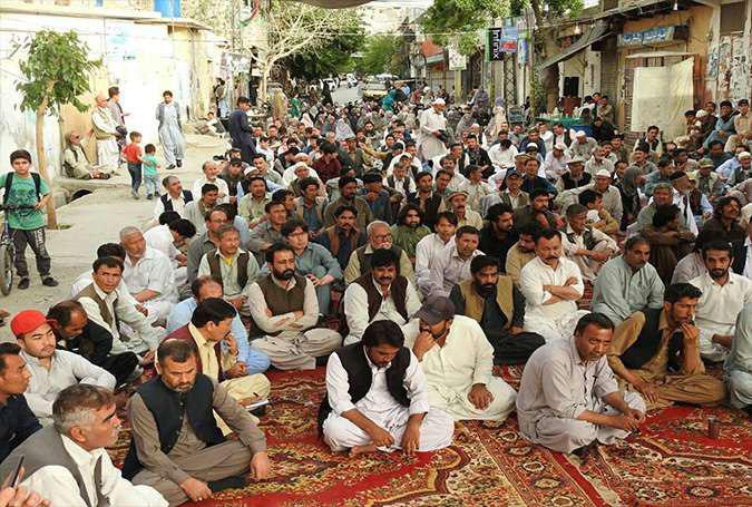 تصویر تحصن اعتراضي به ترورشيعيان در کويته پاکستان