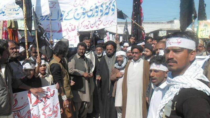 تصویر تحصن شیعیان پاکستان در محکومیت ترور آنها در کویته
