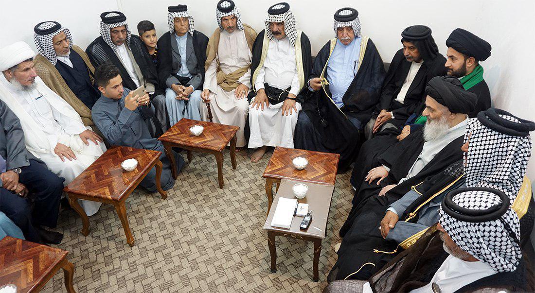 تصویر دیدار روسای عشایر عراق با مرجعیت شیعه