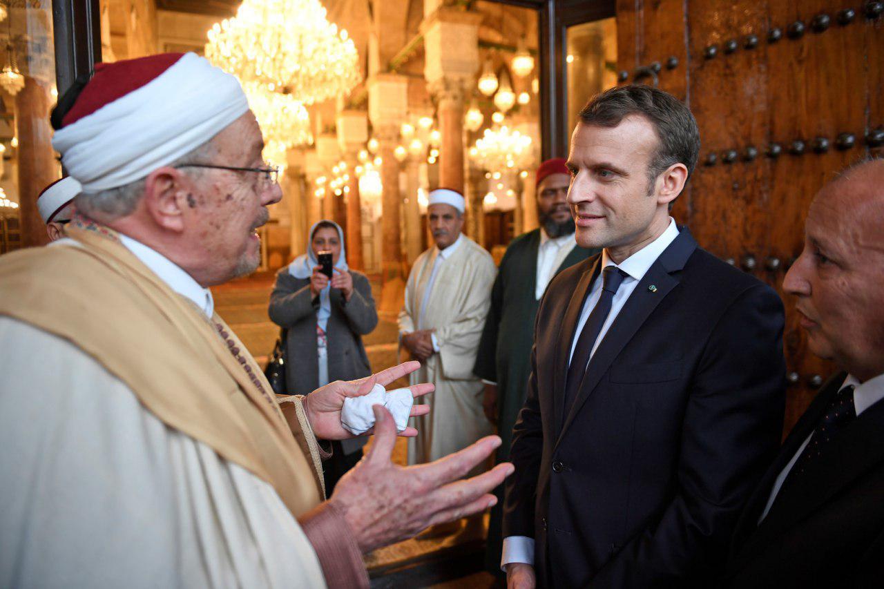 تصویر رئیس جمهور فرانسه با مسلمانان شام نخورد