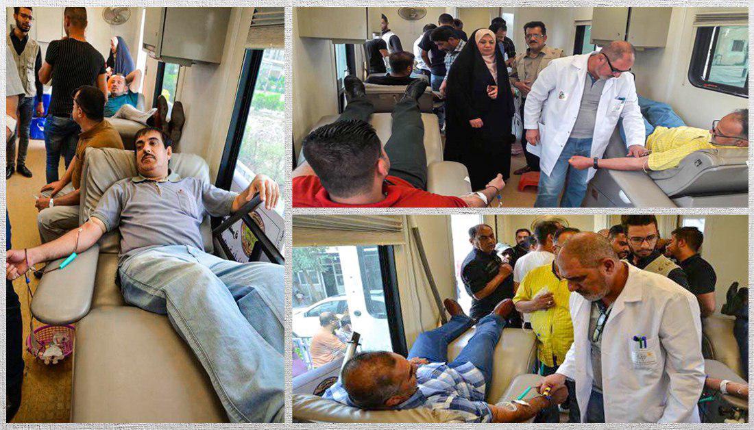 تصویر اجرای برنامه اهدای خون توسط آستان مقدس حسینی در بصره