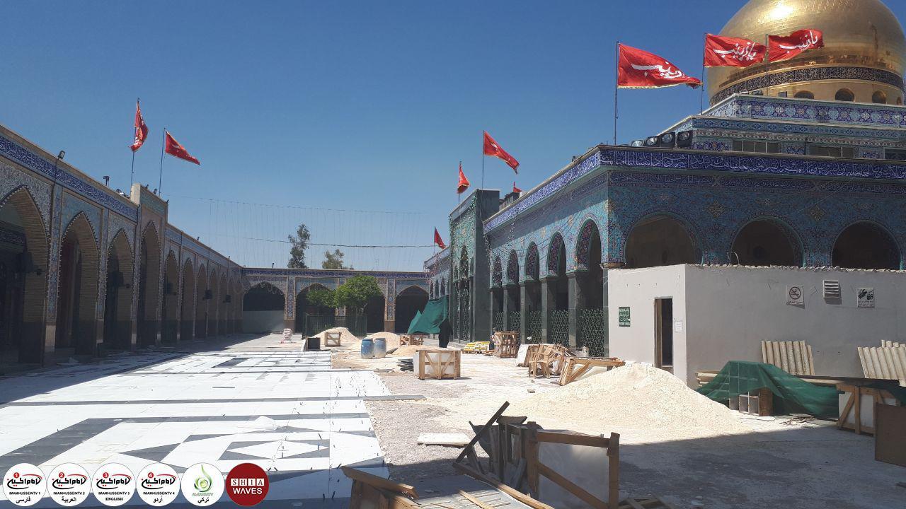 تصویر آغاز سنگ فرش کردن صحن و سراي حرم حضرت «زينب سلام الله عليها» در سوريه