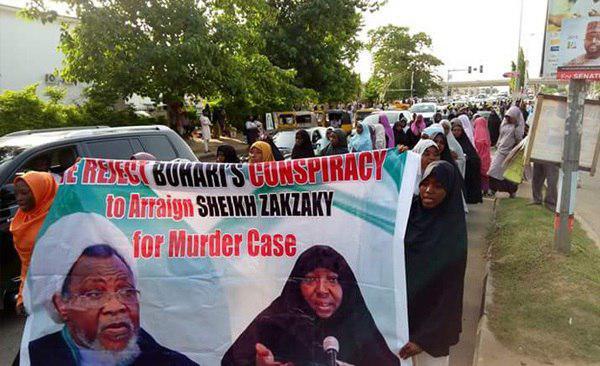 تصویر تظاهرات در نیجریه در محکومیت ادامه بازداشت شیخ زکزاکی و همسرش