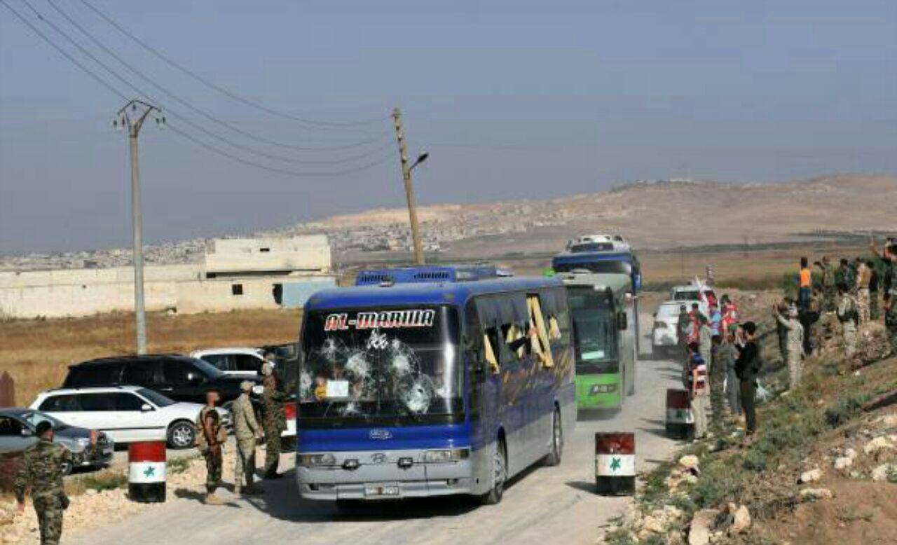 تصویر پایان عملیات انتقال ساکنان شهرهای فوعه و کفریا به حلب سوریه