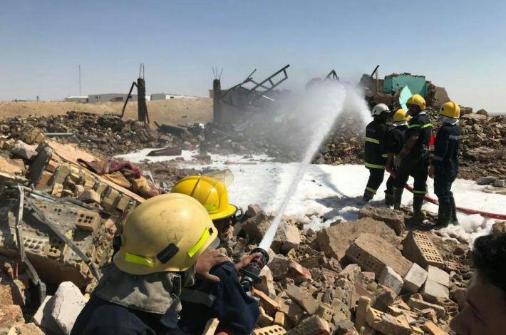 تصویر انفجار یک انبار مهمات نیروهای مردمی عراق، در غرب استان کربلا