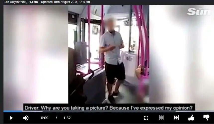 تصویر اهانت یک راننده اتوبوس به بانویی مسلمان در انگلیس