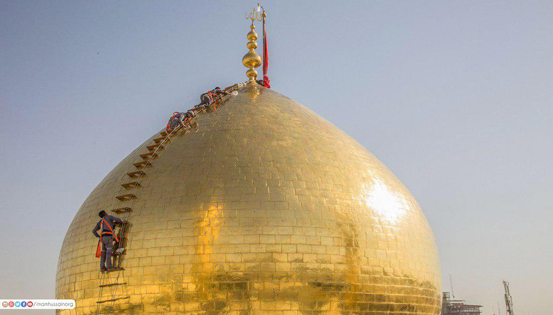 تصویر گزارش تصویری ـ شستشوی گنبد مطهر امام حسین علیه السلام با نزدیک شدن به ماه محرم و عزای حسینی
