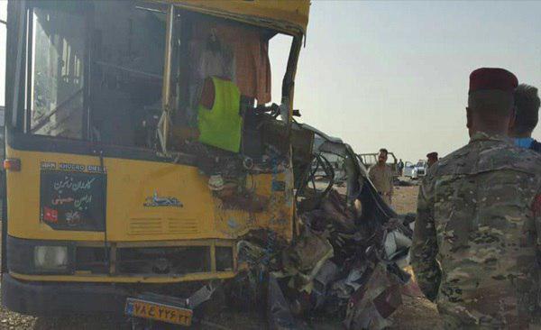 تصویر فوت ۱۱ زائر ایرانی در تصادف اتوبوس در شهر کوت عراق