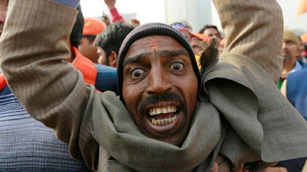 تصویر هندوهای افراطی باز هم  برای ساخت معبد در ویرانههای مسجد بابری تظاهرات کردند