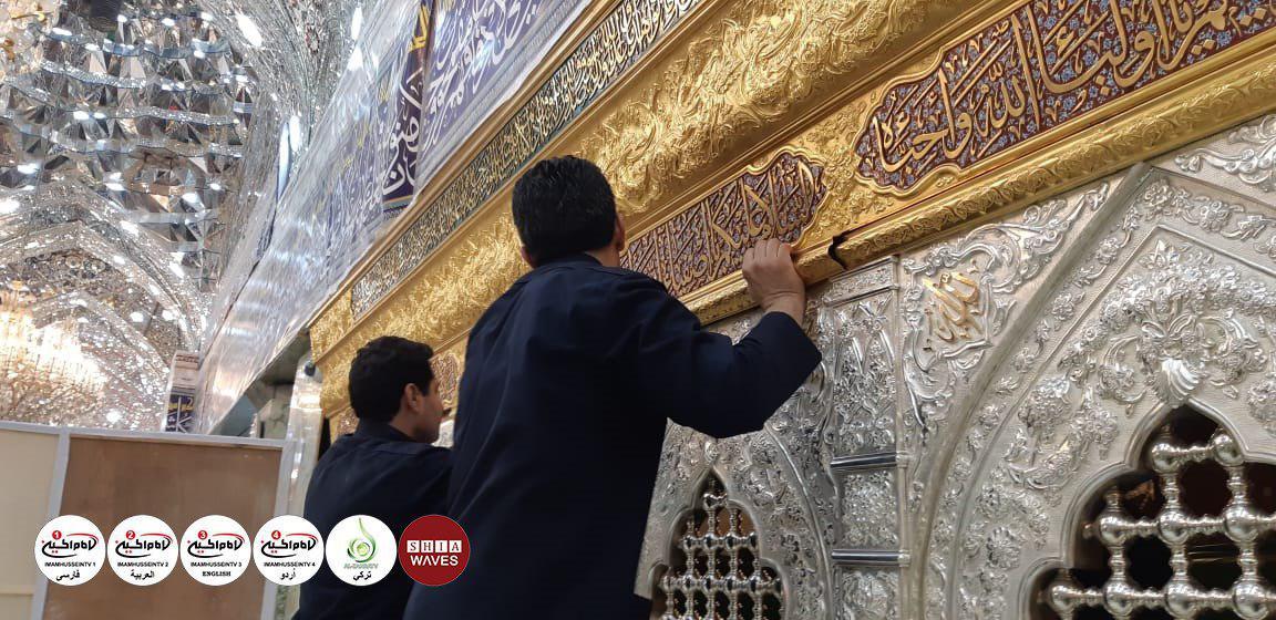 تصویر گزارش تصویری نصب ضریح جدید یاران باوفای حضرت اباعبدالله الحسین علیه السلام در آستان مقدس حسینی