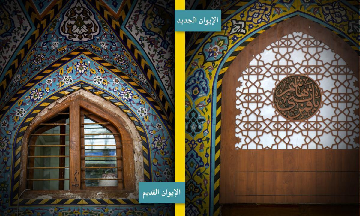 تصویر نصب پنجره های جدید در ایوان های صحن مطهر حرم حضرت اباالفضل العباس علیه السلام