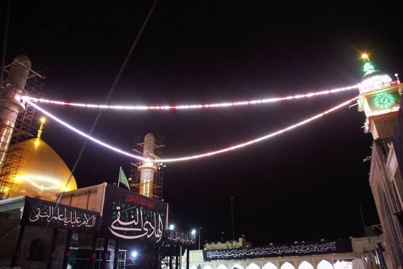 تصویر آمادگی حرم مطهر عسکرین برای مراسم عزای امام هادی علیه السلام