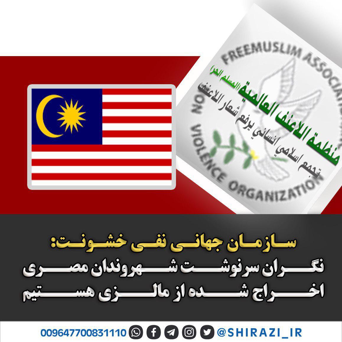 تصویر سازمان جهانی نفی خشونت: نگران سرنوشت شهروندان مصری اخراج شده از مالزی هستیم