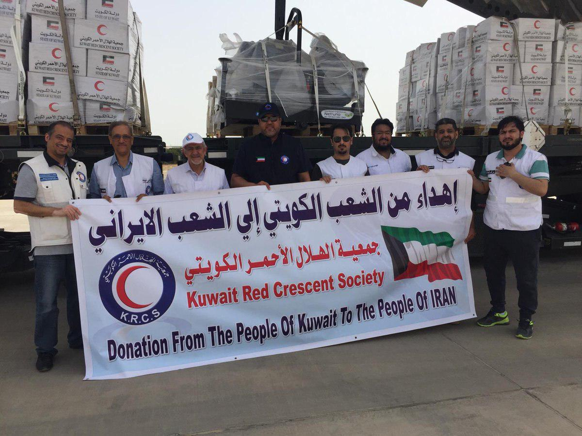 تصویر ارسال کمکهای امدادی برای سیل زدگان ایران توسط کویت