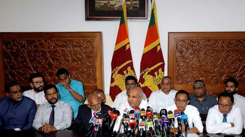 تصویر کناره گیری وزرای مسلمان کابینه سریلانکا پس از فشارهای فراوان گروه های افراطی