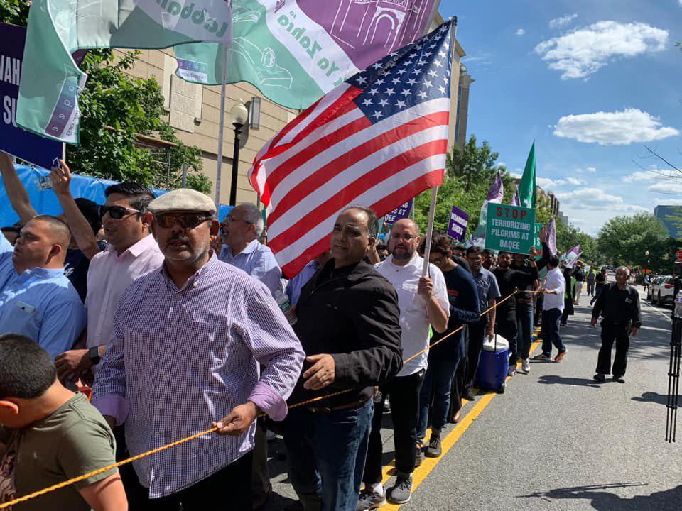 تصویر راهپیمایی روز جهانی بقیع در پایتخت آمریکا از سفارت عربستان تا کاخ سفید