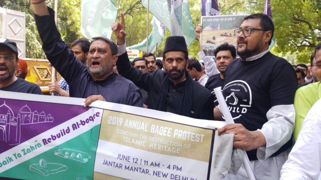 تصویر تحصن شیعیان در روز جهانی بقیع مقابل پارلمان هندوستان